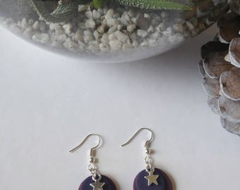 Polymer clay purple and Silver Star earrings