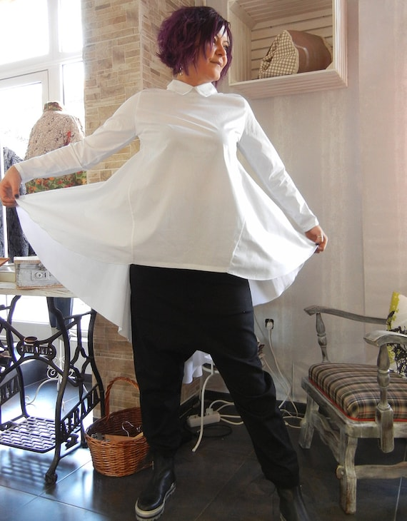 Cape Smock White Shirt, Loose Asymmetric Top, Soft Cotton Shirt, Oversized Maternity Wrap Shirt, Office Wear, Ample Shirt