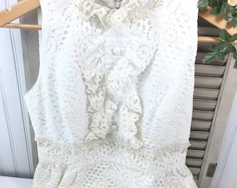 Vintage wedding dress, cream dress, prairie dress, gown, bohemian wedding, clothing, movie costume, eyelet lace, 1979s dress, long dress,