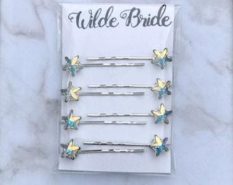 Misty Pins - Make your bridal hair twinkle with 8 Aurora Borealis Swarovski Crysyal stars