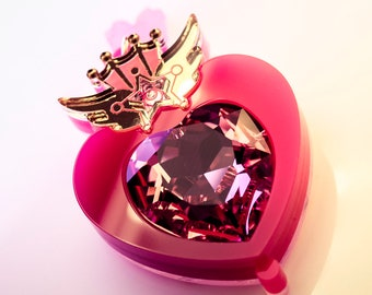 Double Sided Chibi Moon Compact Laser Cut Acrylic Sailor Moon Inspired Necklace