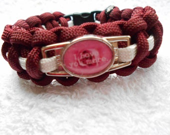 I Love You More Paracord Bracelet - Maroon & White - Hand Made