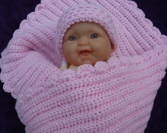 Crocheted Baby Blanket Set - Newborn Blanket Set - Soft Pink Baby Blanket and Hat Set - Baby Blanket