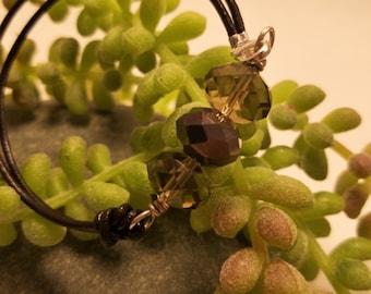 Three Stone Gem Bracelet, Leather