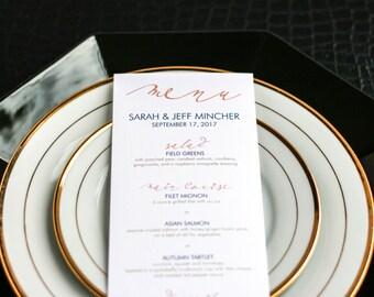"Navy and Coral, Contemporary Wedding, Modern Wedding, Dinner Menus, Reception Menus - ""Modern Calligraphy"" Flat Menu, No Layers - DEPOSIT"