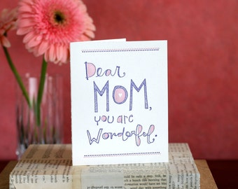 Mom You're Wonderful - letterpress card