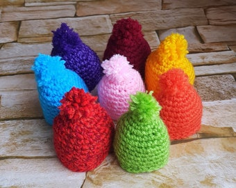 Eggs Warmers, Egg Cozy for Easter, Set 8 Caps for Eggs, Rainbow Caps, Easter Table Decor, Crochet Cozies, Egg Beanie, Easter Gift, Kitchen