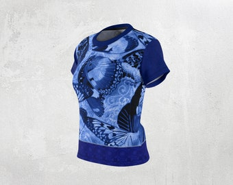 Blue Butterfly Wings And Decorative Scroll and Mandala Tile Collage Boho Women's Dressy TShirt, Blue Butterfly Design Top