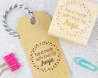 Personalised Spotty Hand Made With Love By Rubber Stamps - Personalized Stamp - Custom Stamper - Handmade By Stamp - Hand Made Label