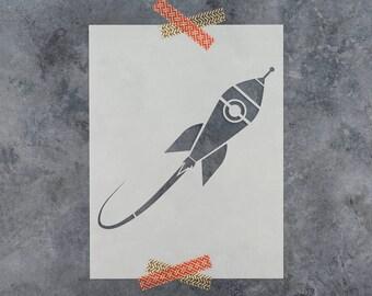 Rocket Ship Stencil - Reusable Craft Stencil of a Rocket Ship Blastin Off