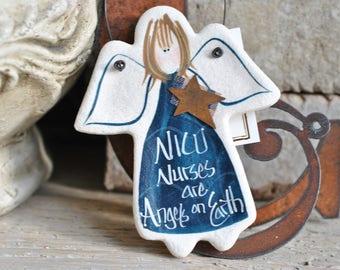 NICU Nurse Gift Salt Dough Ornament Gift for Nurses Angel Ornament Coworker Thank You NICU Nurse Appreciation