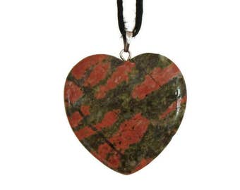 CLEARANCE 50% Polished Jasper Gemstone Heart Pendant Necklace Reddish Gray Vintage Earthy Nature Statement Natural Jewelry
