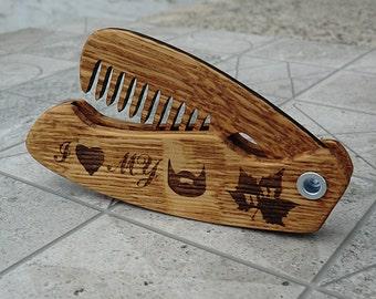Beard Folding Comb Gift for men Wooden Beard Comb Groomsmen Gift for dad for him Gift for boyfriend Valentine gift for men Gift for husband