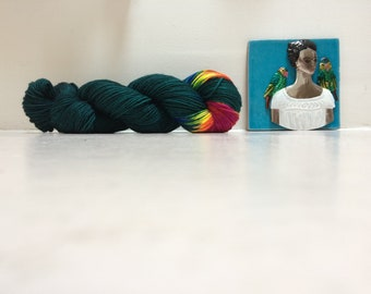 Pre-order DK Hand dyed yarn Blue Faced Leicester DK weight 100g in New Frida Kahlo British Farmed uk