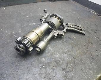 Custom  steampunk gun dieselpunk steel pistol metal