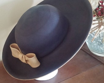 Vintage Navy and Tan Straw Wide Up Brim Hat By Duby New York