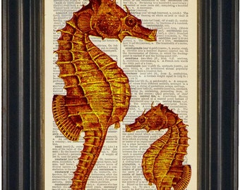 Orange Sea Horse  Print on Upcycled  Dictionary Page mixed media