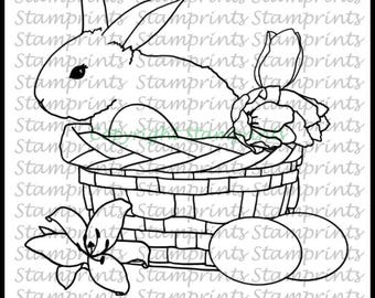 Bunny in Basket (TLS-1805) Digital Stamp. Cardmaking.Scrapbooking.MixedMedia.