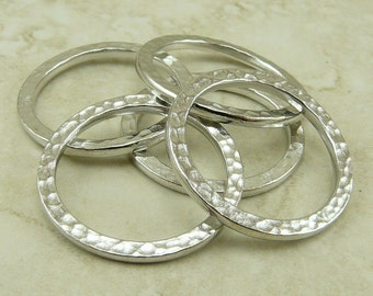 5 TierraCast 1 One Inch Extra Large Hammertone Hammered Ring Link > Rhodium Plated Lead Free Pewter - I ship Internationally 3095