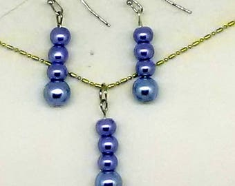 Blue Glass Pearl Beaded Jewelry Set