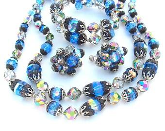 DAZZLING Designer VENDOME Sapphire Blue Crystal Necklace Filigree Beaded Jewelry Set, Wrap Bracelet Earrings Multi Strand Necklace Parure