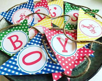 Tricycle Party Baby Shower Banner ITS A BOY