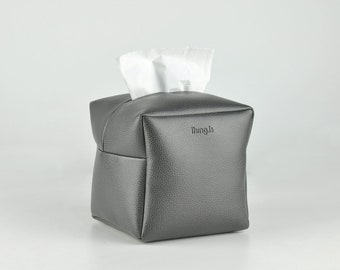 PU Leather Tissue Box Holder, Square Facial Tissue Holder, Toilet Paper Holder, Dark Grey