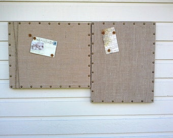 Combination Set of Upholstered Pin Board and Magnet Board, in your choice of burlap with upholstery tack detailing, office, loft, kitchen