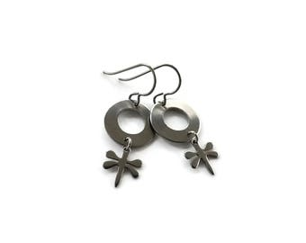 Dragonfly silver dangle earrings - Hypoallergenic pure titanium and stainless steel