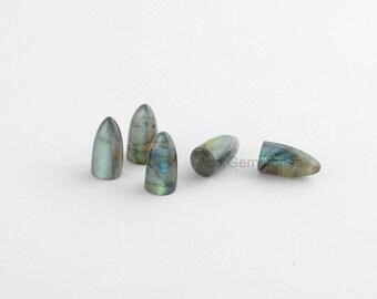 Bullet Shape Gemstone Labradorite Bullet Stone Loose Smooth Gemstone Cabochons AAA Grade - 5pcs.