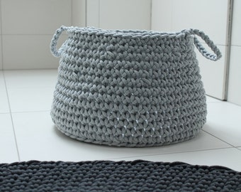 Grey cotton basket | storing basket | nursery basket | nursery decor | crocheted basket | laundry basket | crochet bag | storage basketURI