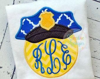Police Officer Law Enforcement Hat Monogram Digital Machine Embroidery Applique Design 4 Sizes