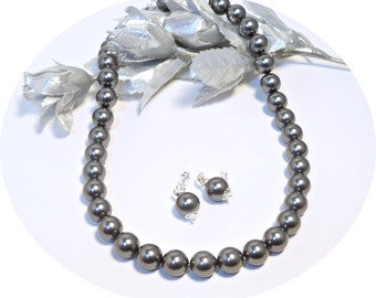 Gray Pearls, Necklace, Earrings, Grey Pearls, Gray Wedding, Bridesmaid Jewelry, Pearls,Pearl Jewelry, Dark Gray, Bridal  Accessories, Choker
