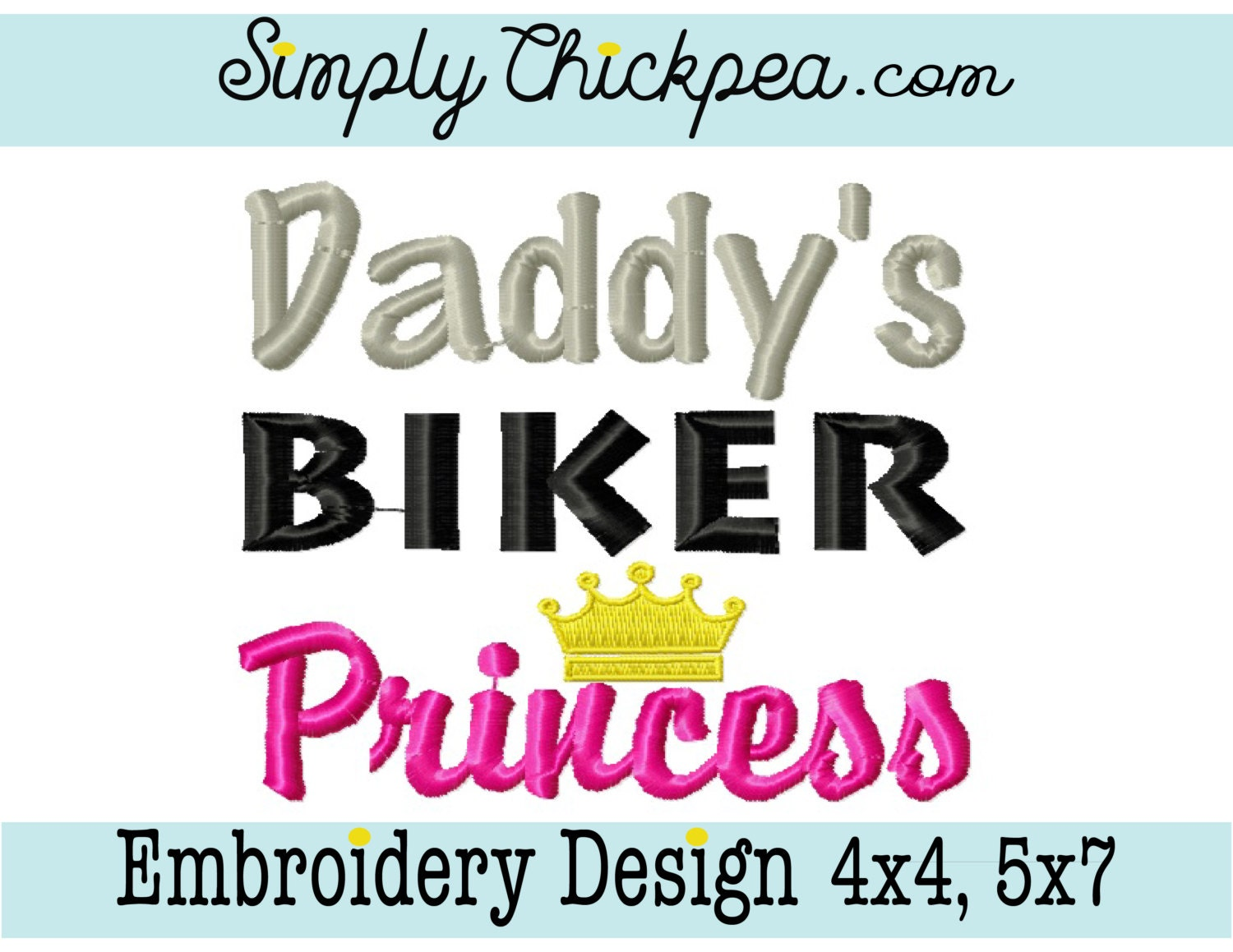 Embroidery Design Daddy\'s Biker Princess Motorcycle