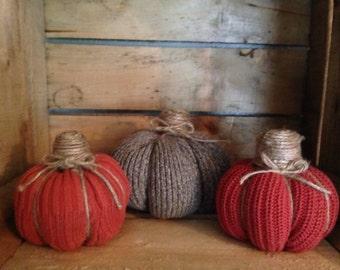 Set of 3, Sweater Pumpkins, Fall Pumpkins, Harvest Pumpkins, Fall Decor, Sweater, Pumpkin, Halloween Pumpkin, Halloween, Cute Pumpkins