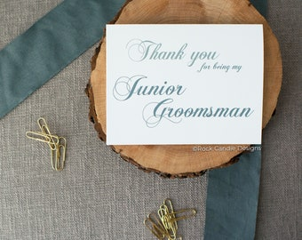 Thank You For Being My Junior Groomsman Card | Wedding Day Stationery | Card for Junior Groomsman | Cute Way To Thank Your Junior Groomsman