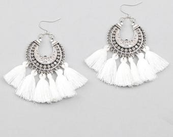 Creole earrings boho earrings / / / engraved silver / white PomPoms