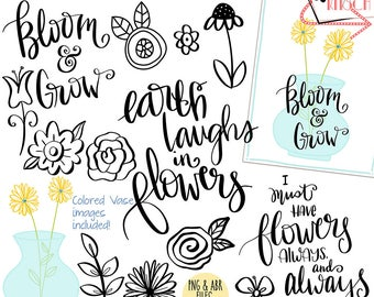 Hand Lettered Floral Sayings & ClipArt Plus digital brushes, png + abr, INSTANT DOWNLOAD Photoshop Brushes, CU, Card Making, Spring, Vase