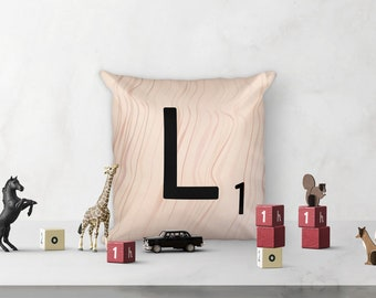 "Scrabble Decoration Square Pillow - Letter L - 18"" x 18"" Accent Pillow - each letter with unique wood pattern - cover and insert included"