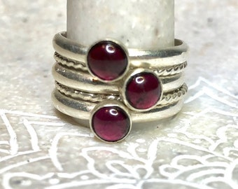 Garnet Layering Rings, Garnet Stacking Rings, Set of Five Rings, Stacking Gemstone Rings, Family Rings, Choose your Stone, Birthstone Rings