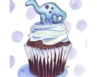 Watercolor Painting - Blue Dinosaur Brontosaurus Cupcake - Childrens Art Kids Art - Cupcake Watercolor Art Print, 5x7