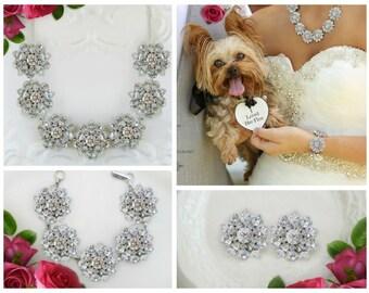 Wedding Jewelry Set Crystal bridal jewelry set silver jewelry set vintage wedding statement crystal jewelry bridal necklace earring wedding