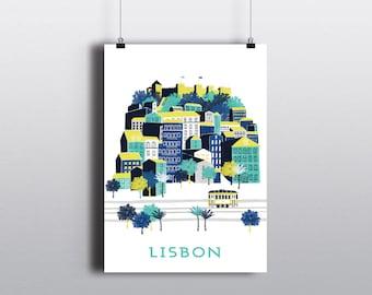 Lisbon Print / Lisbon Poster / Castle Print / Gift For Travelers / Travel Gift / Retro Travel Art Print / Lisbon Gift / Portugal Wall Art