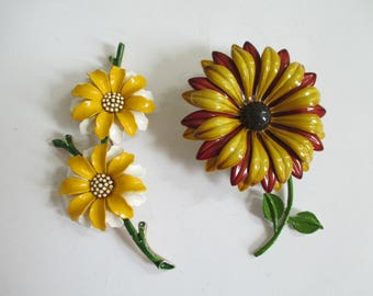Vintage Enamel Flower Pins - Trifari - Brown, Gold, Yellow, White - Retro - Flower Pin Decor - Two in Lot