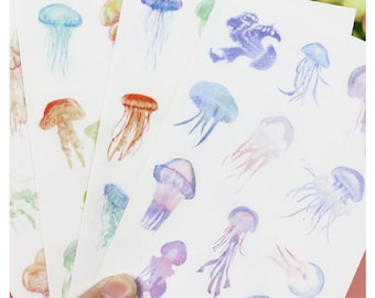 4 Sheets Set ~ Jellyfish Stickers, Marine Life Stickers ~ Aquatic Animals Stickers ~ Ocean Stationery, Scrapbooking, Stickers, Deco Stickers