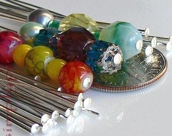 SILVER Headpins, 4-Inch Long, 20 Brass Head Pins, 21-Gauge