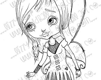 Digi Stamp Digital Instant Download Big Eye Creepy Cute Fairy Girl ~ Cindy Image No. 66 & 66B by Lizzy Love