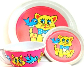 60's Tin Toy Tea Setting, Yellow Cat & Blue Bird.