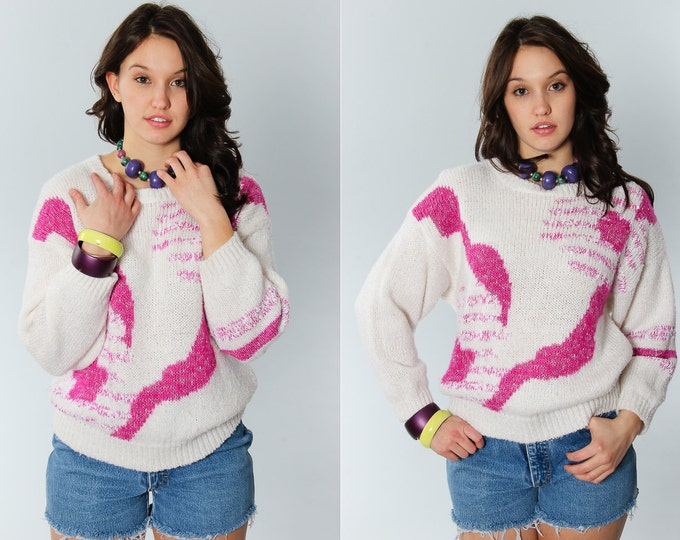 Large Vintage 90s Pink & White Sweater | 5EE