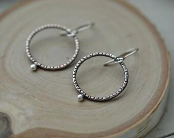 Simple copper earrings, copper hoops, copper and silver earrings, copper jewelry